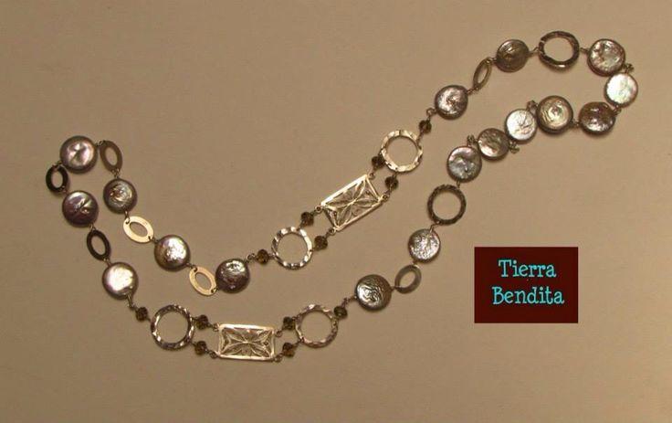 Collar de plata , filigrana de plata y perlas