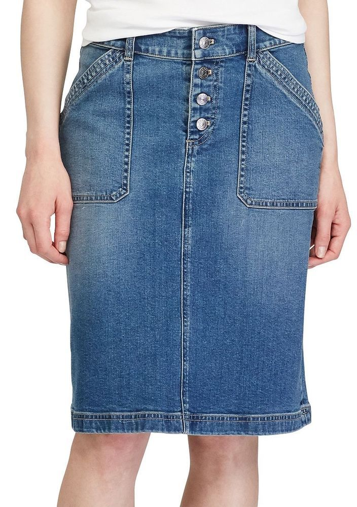 5dfe3a1717 Chaps Womens Stretch Jean Skirt Anchor Way Sand Wash size 16 NEW | Women's  skirts | Pinterest | Skirts, Jean skirt and Stretch Jeans