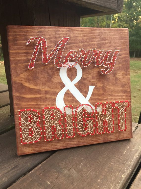 CLEARANCE Christmas string art merry and bright by ShopAmbiguouS