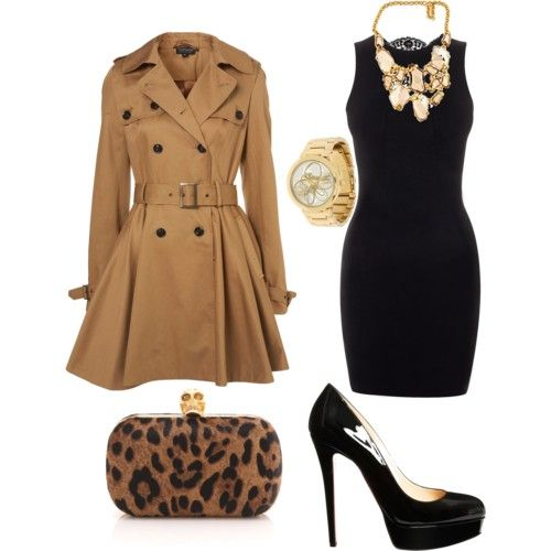 : Date Night, Leopards Clutches, Fashion Design, Outfit, Breakfast At Tiffany, Fall Fashion, Little Black Dresses, The Dresses, Trench Coats
