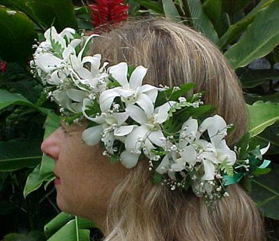Haku Lei  Intricately woven head lei with flowers and ferns traditionally worn by brides at Hawaiian weddings. Orchids are available in white, purple, lavender and yellow.