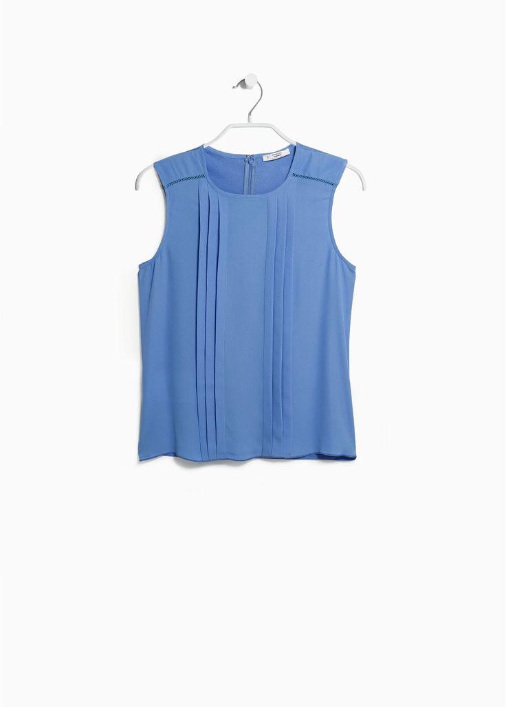 Pleated panel blouse