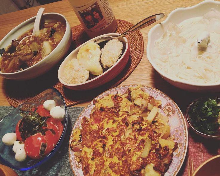 0424 夕ご飯 ジャガイモのフリッタータ アボガドグラタン  モッツァレラトマト ナスとひき肉桜エビのあんかけ とゴマだれみょうが 素麺 by hitomi.wt