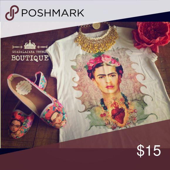 Frida Sacred Heart Shirt - Brand New Super Cute Frida Statement Shirt Guadalajara Trends Boutique Tops Tees - Short Sleeve