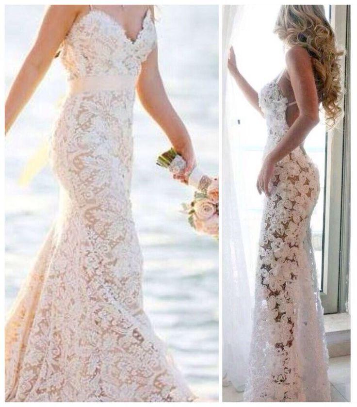 Spaghetti straps backless see through lace beach wedding for Beach wedding bridesmaid dresses pinterest