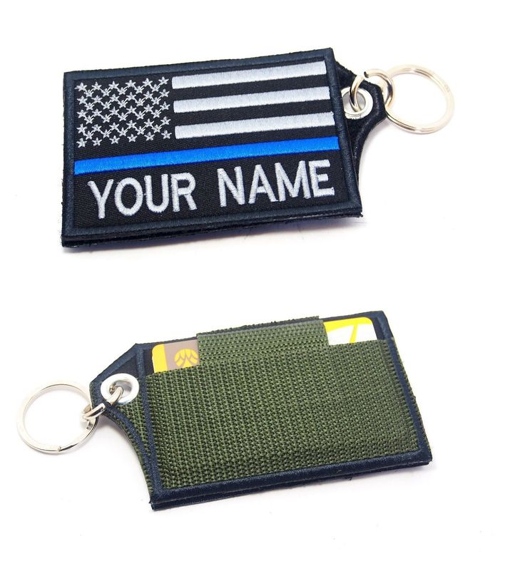 Details about CUSTOM NAME USA FLAG THIN BLUE LINE POLICE ID CREDIT CARD HOLDER KEYCHAIN CASE