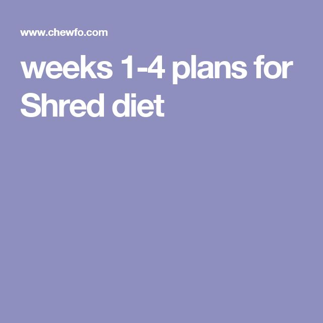 weeks 1-4 plans for Shred diet                                                                                                                                                                                 More