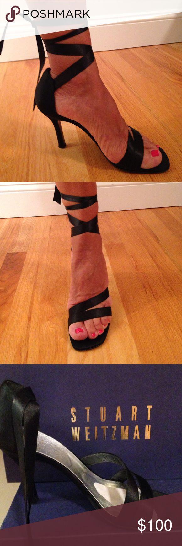 Shoes Stuart Weitzman wrap me up black satin Stuart Weitzman Shoes Heels