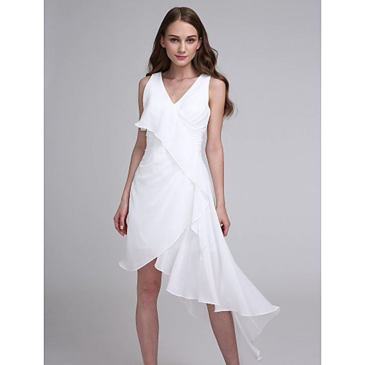 2017 Asymmetrical Chiffon Bridesmaid Dress A-line V-neck with #bridesmaiddresses #whitedresses #bridalfeel