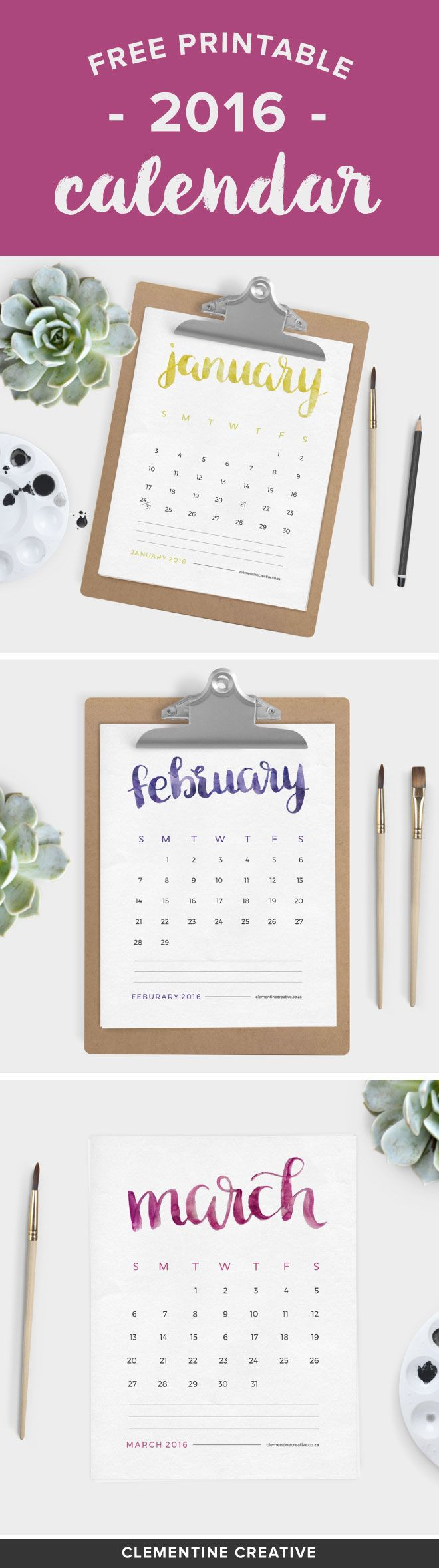 This free printable 2016 calendar will brighten up your desk area. Each month name is painted by hand with watercolor paint.