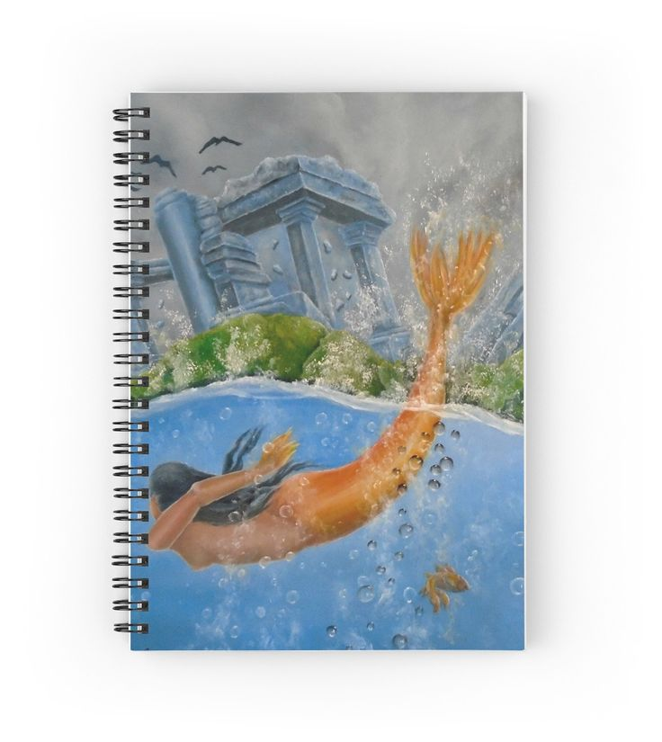 Spiral Notebook,  mermaid,aqua,blue,stationery,school,supplies,cool,unique,fancy,trendy,awesome,beautiful,design,unusual,modern,artistic,for sale,items,products,office,organisation,redbubble