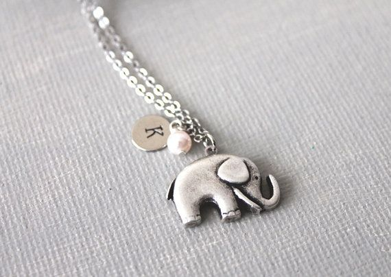 Personalized Initial Elephant Necklace by lunashineshine on Etsy, $18.00