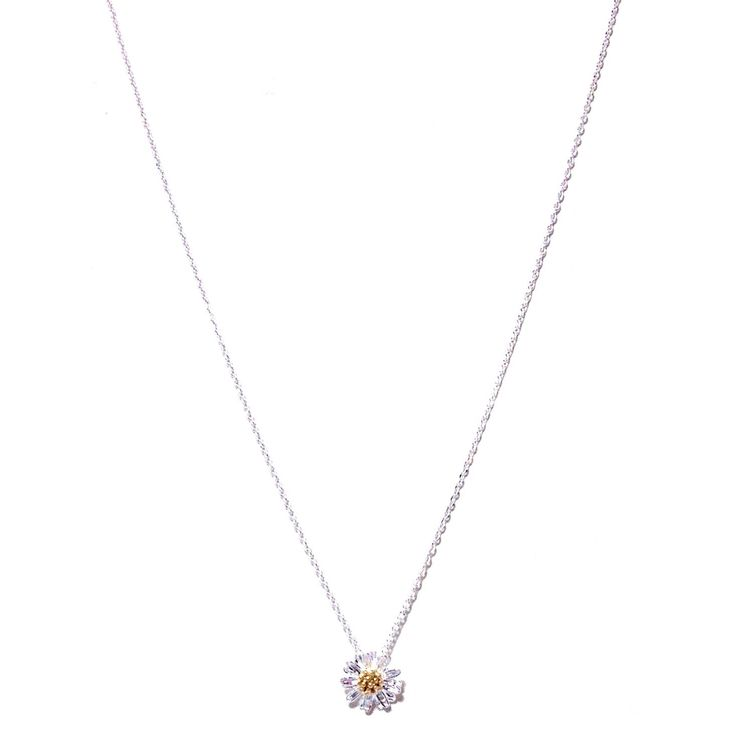 Tiny Daisy Necklace, $22   Silver and Gold Plate   Light Years Jewelry