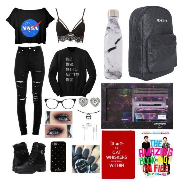 """Dan and Phil School starter pack"" by taylor-008 on Polyvore featuring Yves Saint Laurent, Blondo, Charlotte Russe, West Elm, Chico's and Kate Spade"