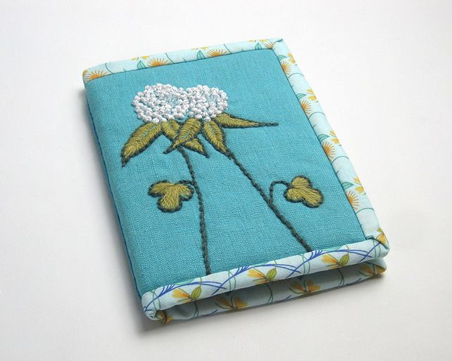 Notebook with hand embroidered clover £12.00