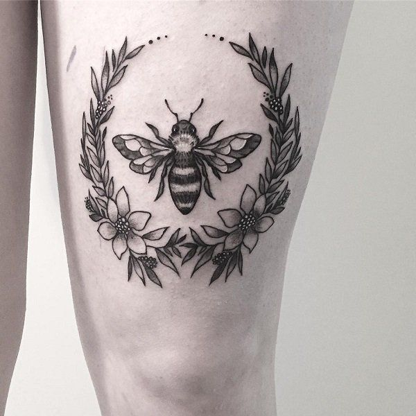 The circular Black and Grey Inked Bee Tattoo Design.