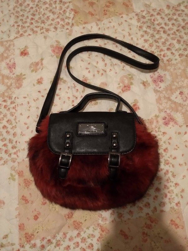 8c9c787896d Burgundy/red Next faux fur leather shoulder bag | Lovelybird outfits |  Pinterest | Any questions, Outfits and Clothes