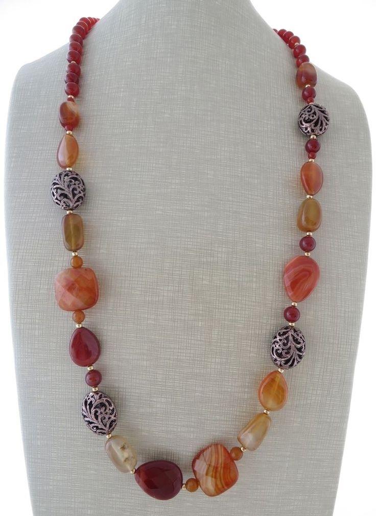 Collana agata e carnelia arancione, gioielli pietre dure, bijoux fatti a mano •…