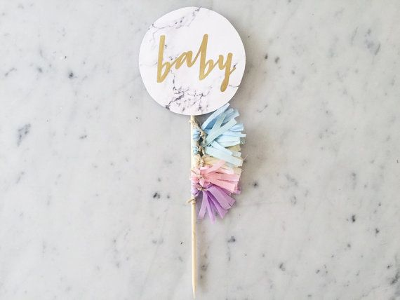 Cake Topper / Marble Print / Modern by LittleConfettiLove on Etsy