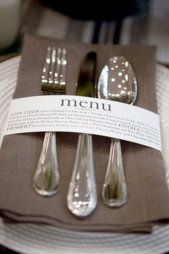 Custom Menu Napkin Wraps by wileyvalentine on Etsy, $1.62