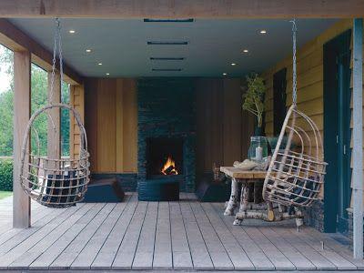 Veranda met buitenhaard - Design: Piet Boon (1) ♡ ~Rustic Living ~GJ * Kijk ook eens op mijn blog: www.rusticlivingbygj.blogspot.nl