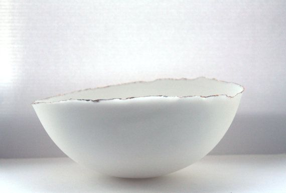 Very large pure white bowl made from English fine by madebymanos, £180.00