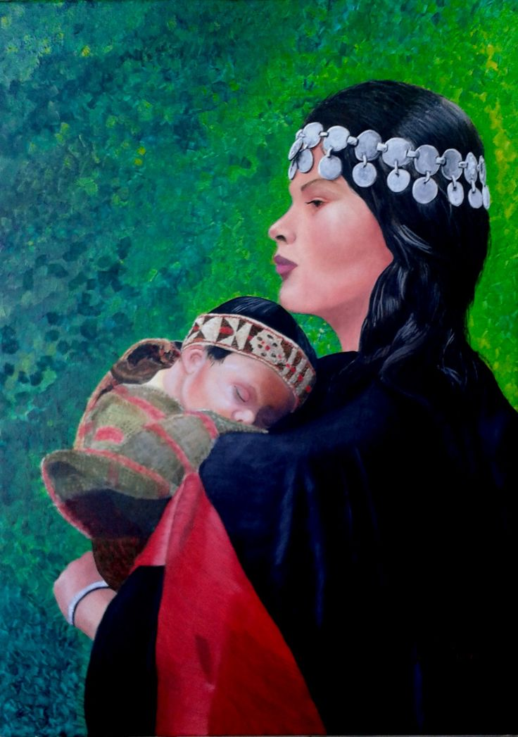 Ana María Díaz - Madre mapuche con su bebé óleo sobre tela de 50 x 70 cms Esta es la segunda obra de Ana María en el taller... felicitaciones... bien lograda.(pintura original inspirada en fotografía)