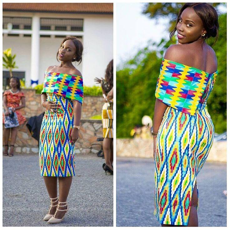 Kente Dress. Photo Source: I hear Fabrics Gh (on Facebook) Gorgeous Miss Ocran looking fab in her Kente designed by Jane Damaris   fabric provided by #idoelitelist @iheartfabricsgh #idoghana