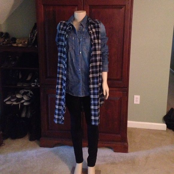 Sans Souci Dresses - Sans Souci plaid sleeveless shirt dress vest sz XL
