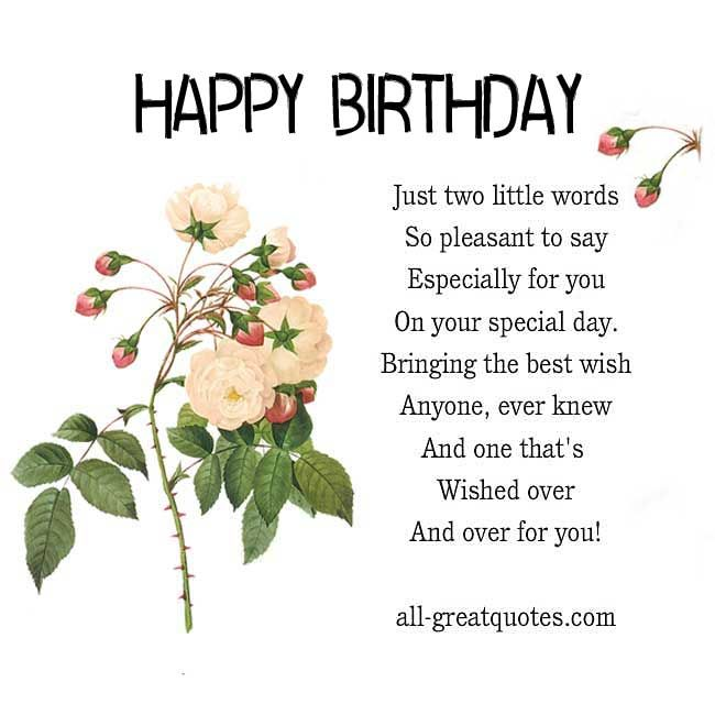 Happy Birthday .. Just Two Little Words, So Pleasant To