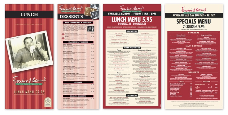 Frankie and Benny's menus