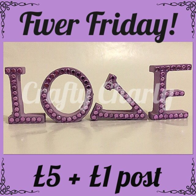 It's #fiverfriday! Lilac gem embellished wooden love letters, each letter measures 5x3xm and can be rearranged any way you like! One only, can be purchased at www.fb.com/craftycharly x #craftycharly #handmade #decoden #loveletter #valentinesday #lilac #newmakes #purple #gems #handmade #madeinyorkshire #musthave #crafts #craftime #CCC #fabulousfbpages #craftstaffroom