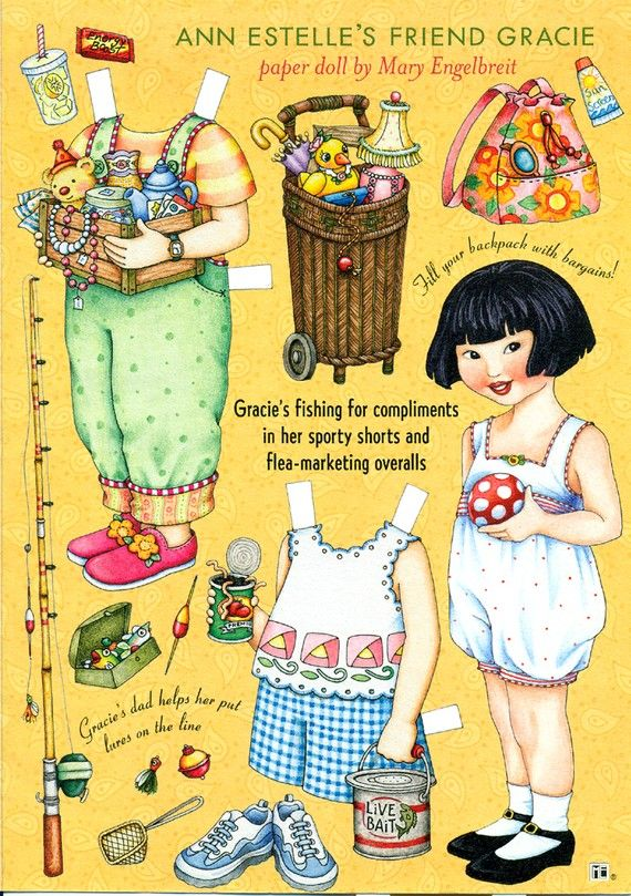 Uncut Paper Doll by Mary Engelbreit Gracie Goes Fishing
