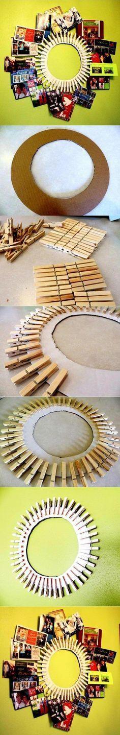 Wäscheklammer-Ideen-Halter... könnte man auch noch mit einem Spiegel kombinieren...