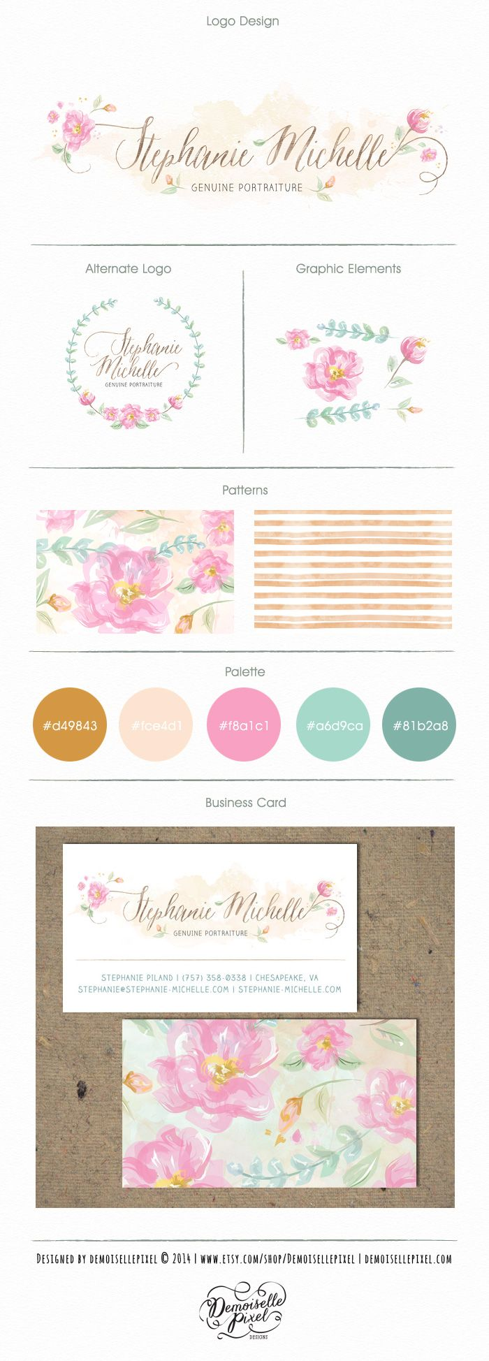 Custom Photography Branding Package with hand painted flowers and a custom calligraphy: https://www.etsy.com/listing/156334805/custom-brand-identity-package-custom