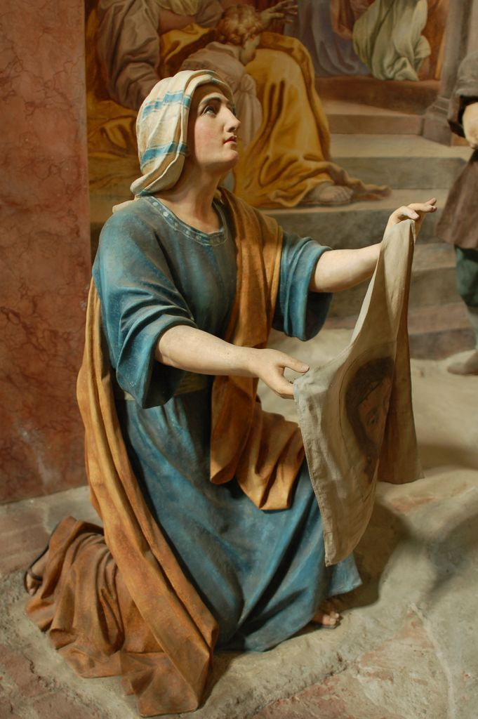 Saint Veronica, holding her veil upon which Christ left an imprint of His Most Holy Face.