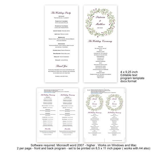 Floral berry wreath wedding programs diy by MyPrintablePaperie