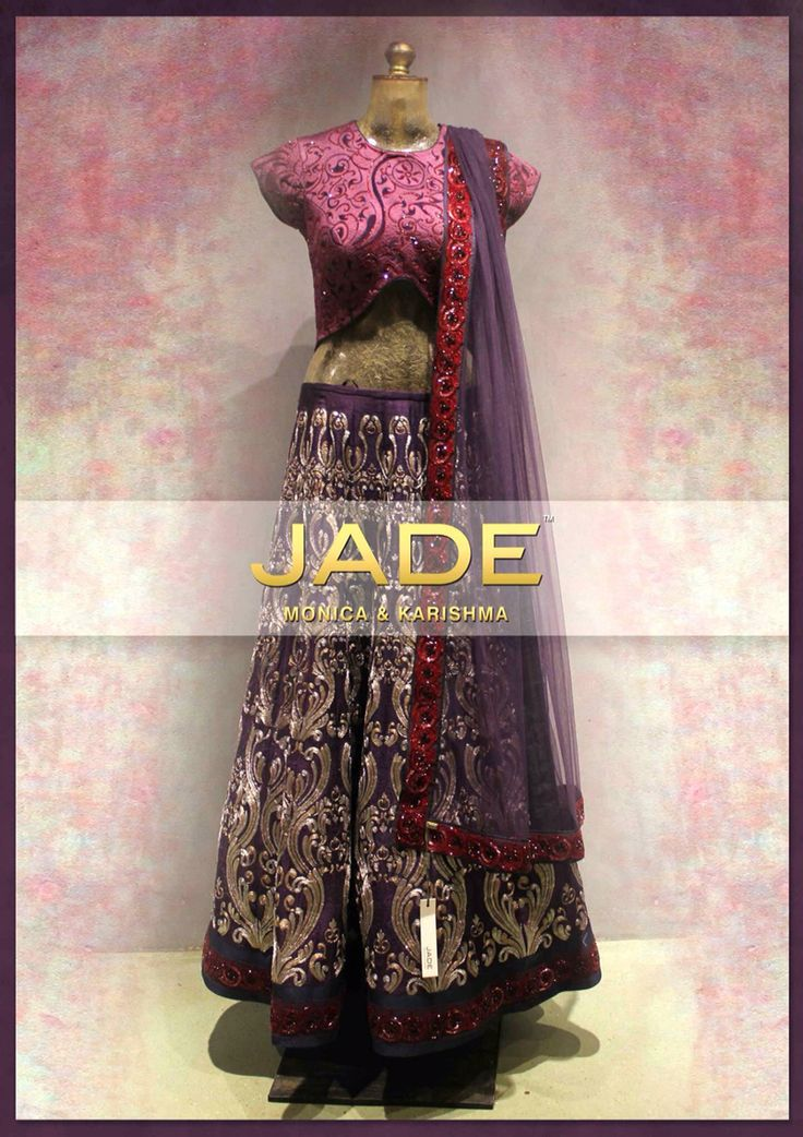 Love this color combination designed by Jade.. Apt for a Sangeet evening. #sangeet #Jade #lehenga #purple #pink #zari #bridal #indian #dresses
