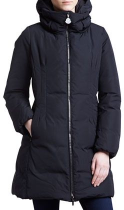 Moncler Long Puffer Coat with Hood, Black on shopstyle.com