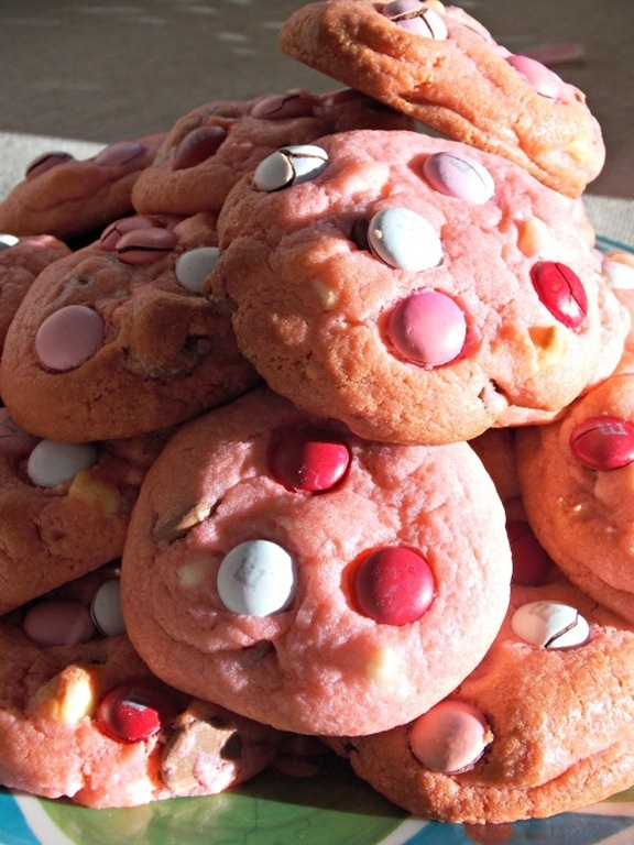 Valentine Pink Chocolate Chip Cookies Recipe — Dishmaps
