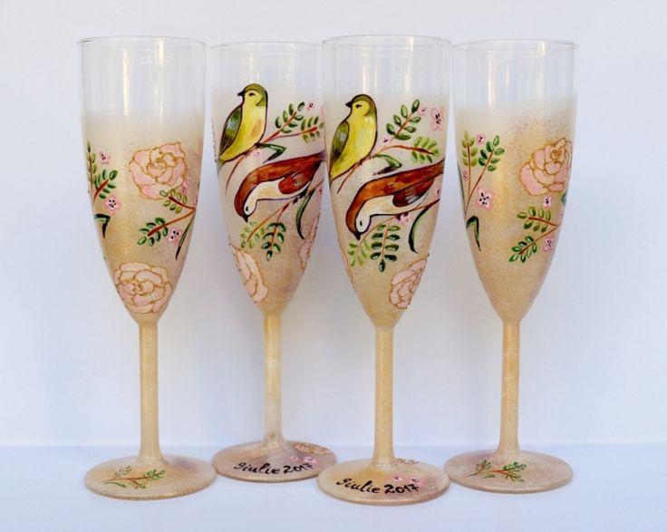 "Set+pahare+nunta+""Vintage+Birds"""