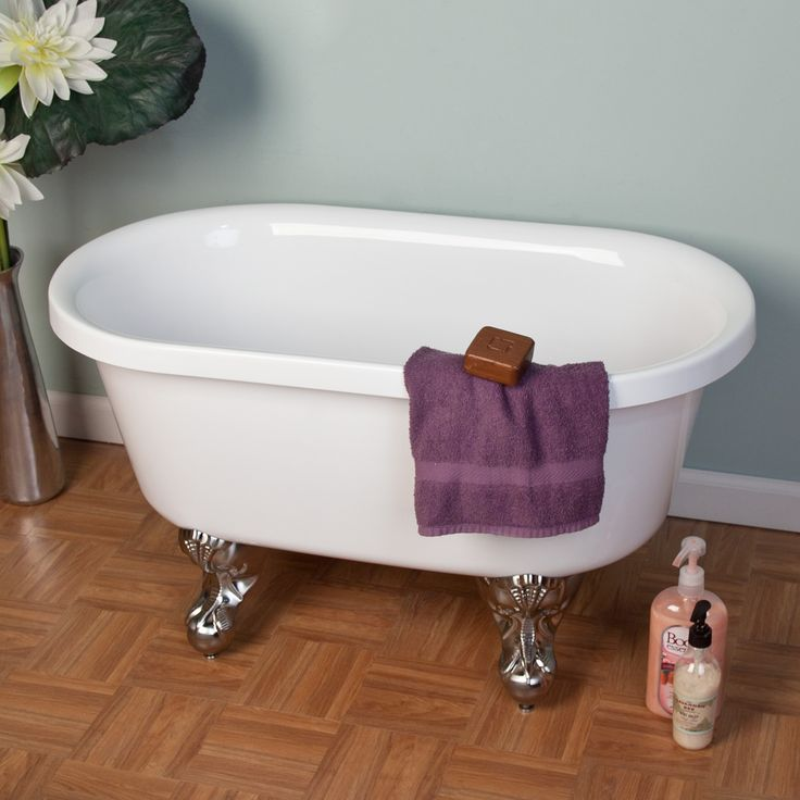36 ella double ended acrylic mini clawfoot tub with for Bathtub size in feet