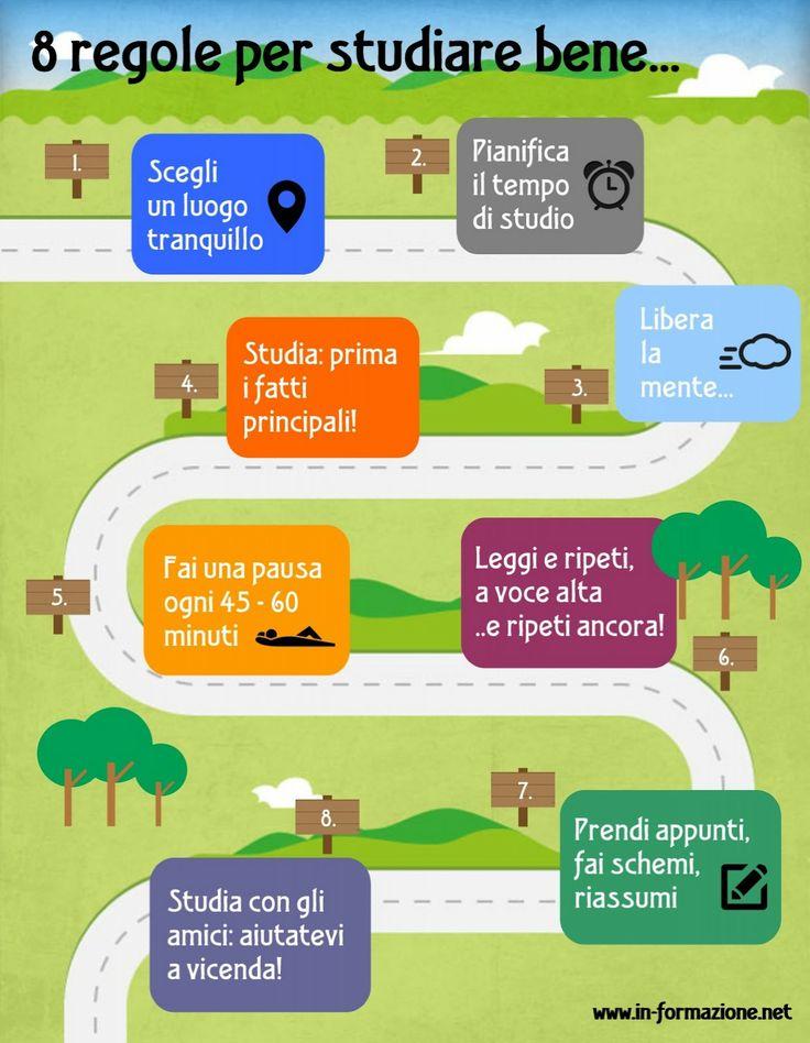 Infografica con le 8 regole d'oro per studiare bene | INFOGRAFIE aggregatore di infografiche