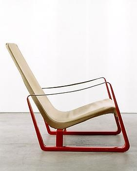 """Cité"" armchair (red),   c. 1933 Metal, leather and canvas by Jean Prouve"