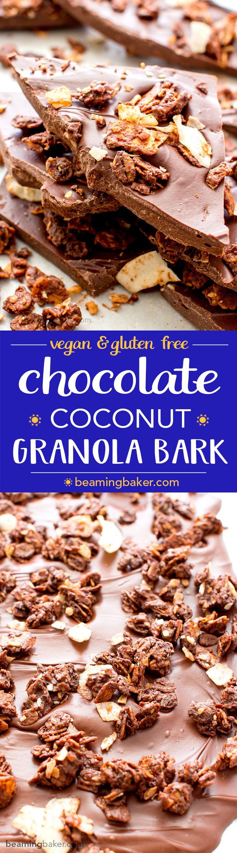 Chocolate Coconut Granola Bark (Vegan, Gluten Free)