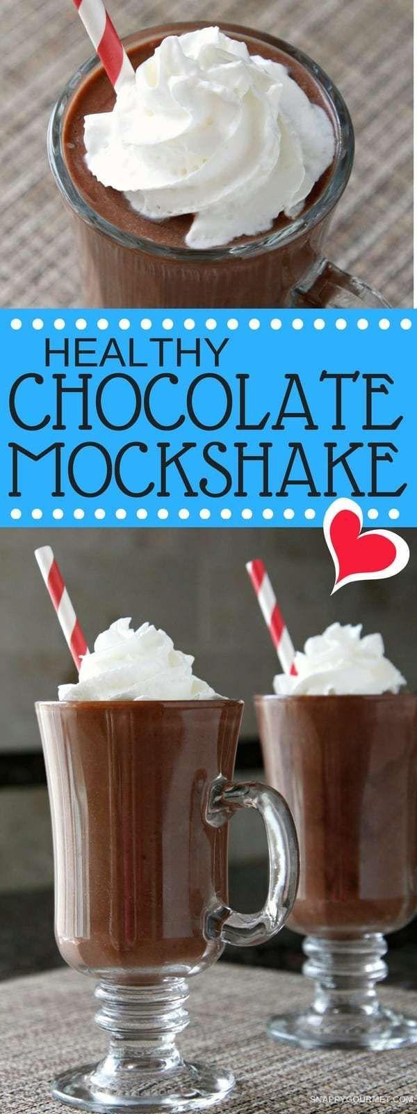 Healthy Chocolate Mockshake - easy healthy chocolate milkshake recipe without milk or ice cream! SnappyGourmet.com #Healthy #Chocolate #Milkshake #SnappyGourmet #Recipe