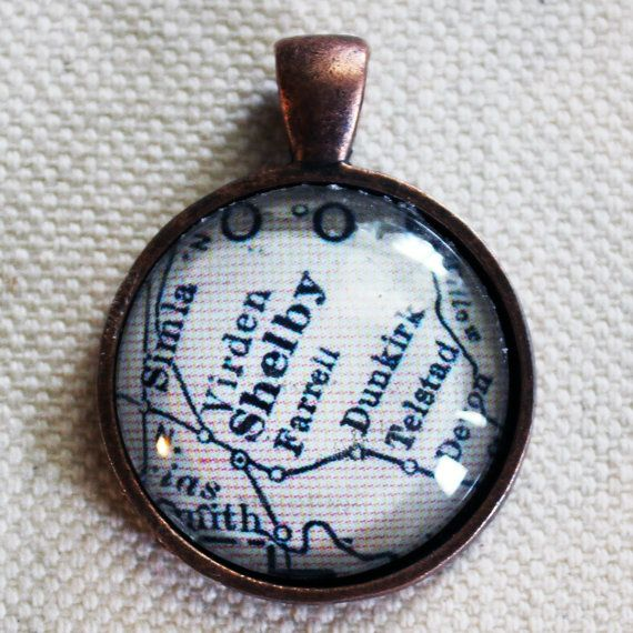 Shelby Montana Antique Vintage Map Pendant from Etsy