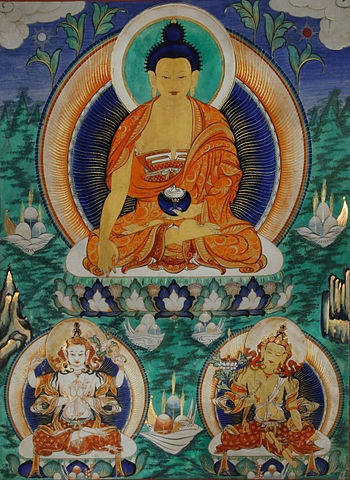 Shakyamuni flanked by Avalokiteśvara and Manjushri
