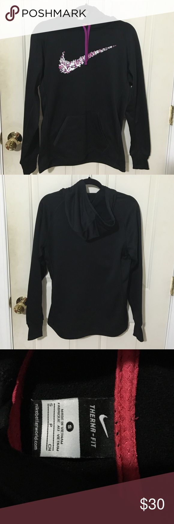 """Nike Sweatshirt This is a black Nike sweatshirt with purple tassels, and the signature Nike swoosh made out of the phrase """"Just Do It"""" Nike Tops Sweatshirts & Hoodies"""