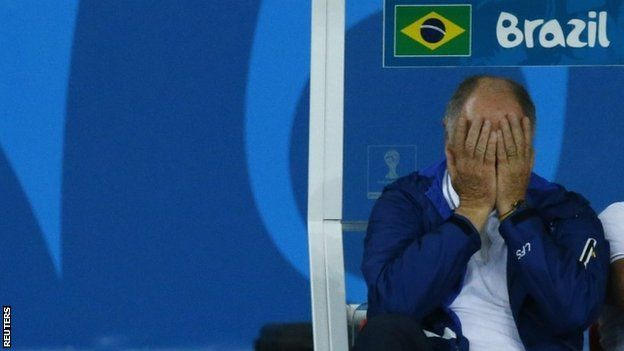#Brazil coach Luiz Felipe #Scolari during the 1-7 defeat to #Germany in the #WorldCup. #football #soccer